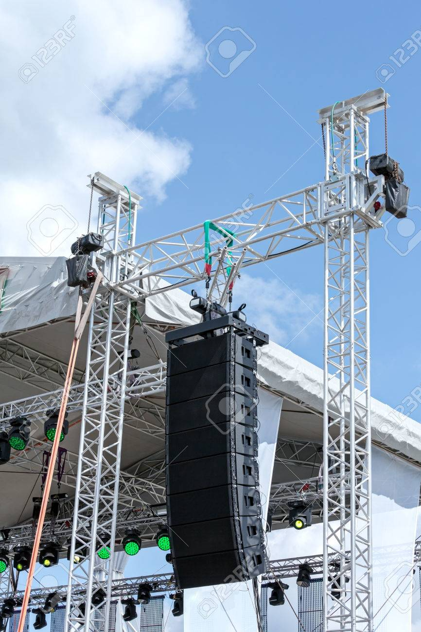 Stage lighting and sound equipment on outdoor stage before concert stage lighting and sound equipment on outdoor stage before concert stock photo 54186396 aloadofball Images