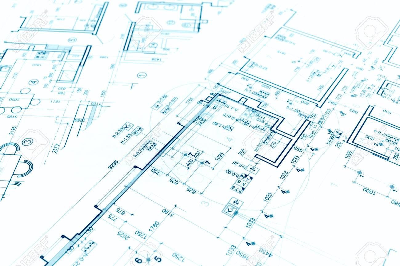 Architectural Project, Floor Plan Blueprints, Construction Plans,  Architectural Background Stock Photo   57394811