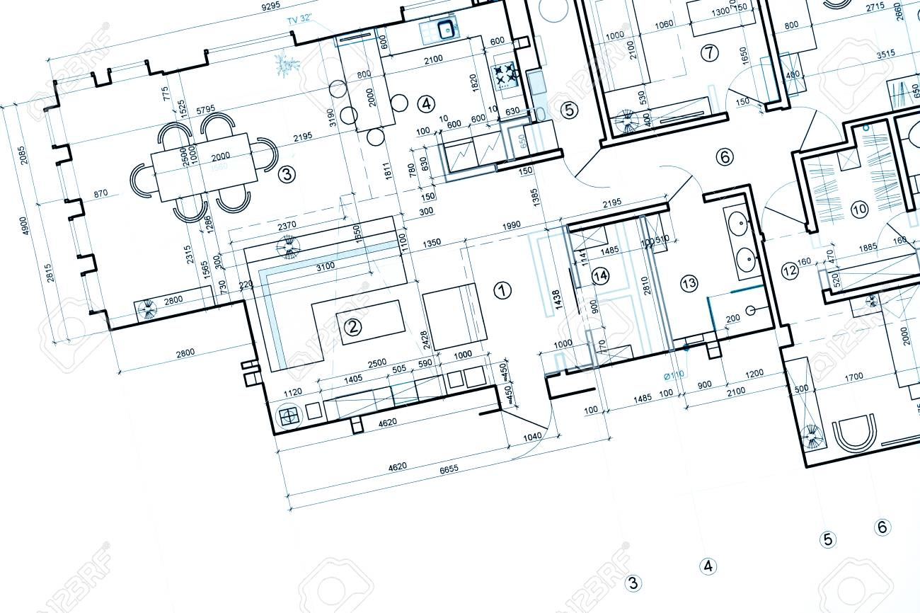 Blueprint Floor Plans, Architectural Drawings, Construction Background  Stock Photo   57394832