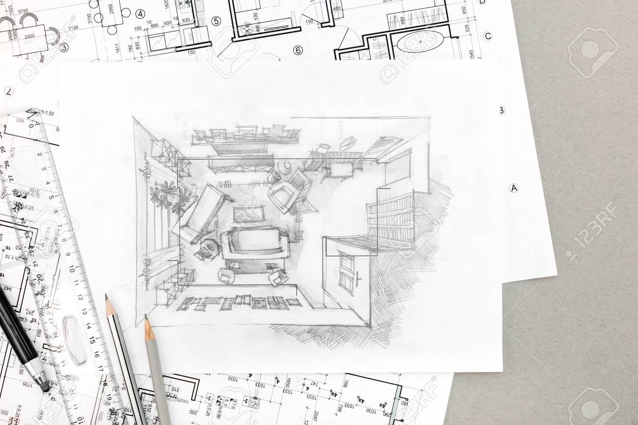 Croquis Dessin De Main De L\'intérieur De La Maison Avec Des Crayons ...