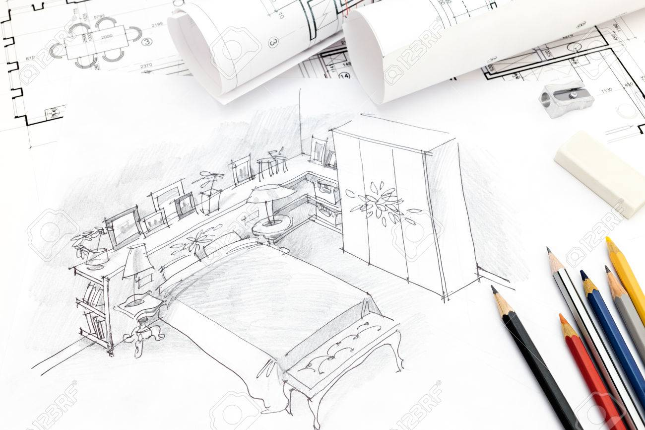 Bedroom interior hand drawing with blueprint paper rolls and bedroom interior hand drawing with blueprint paper rolls and pencils stock photo 59460590 malvernweather Choice Image