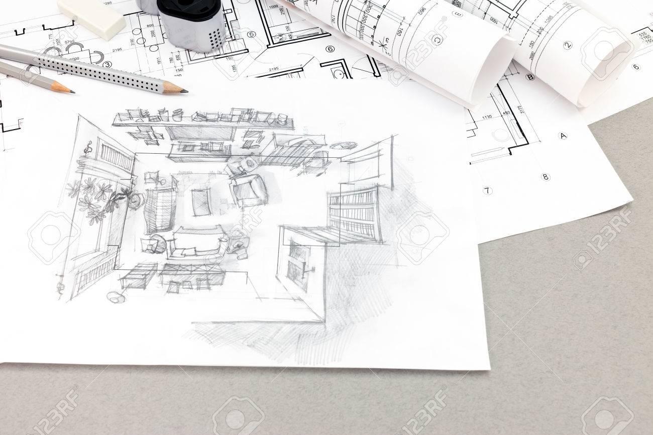 Handgezeichnete Skizze Von Wohnzimmer Mit Werkzeugen Und Pläne Auf ...