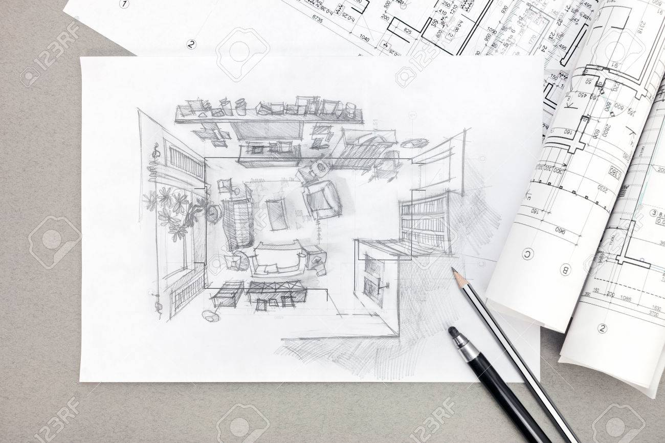 Freehand sketch perspective architectural drawing of living room freehand sketch perspective architectural drawing of living room with pencils and blueprints stock photo 59460593 malvernweather Image collections