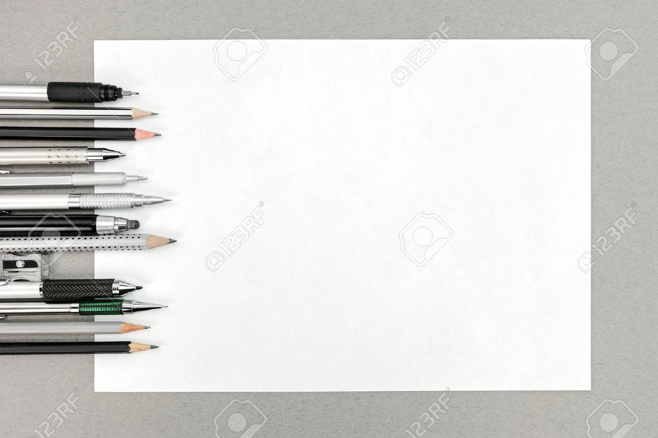 office drawing tools. Stock Photo - Various Drawing Tools And Blank Sheet Of Paper On Gray Office Desk Table L