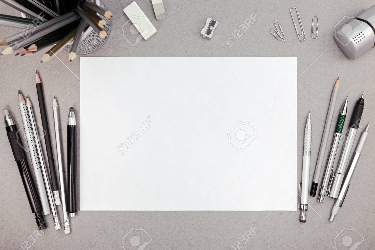 office drawing tools. Office Workspace With Blank Paper Sheet And Various Drawing Tools, Top View Stock Photo - Tools A