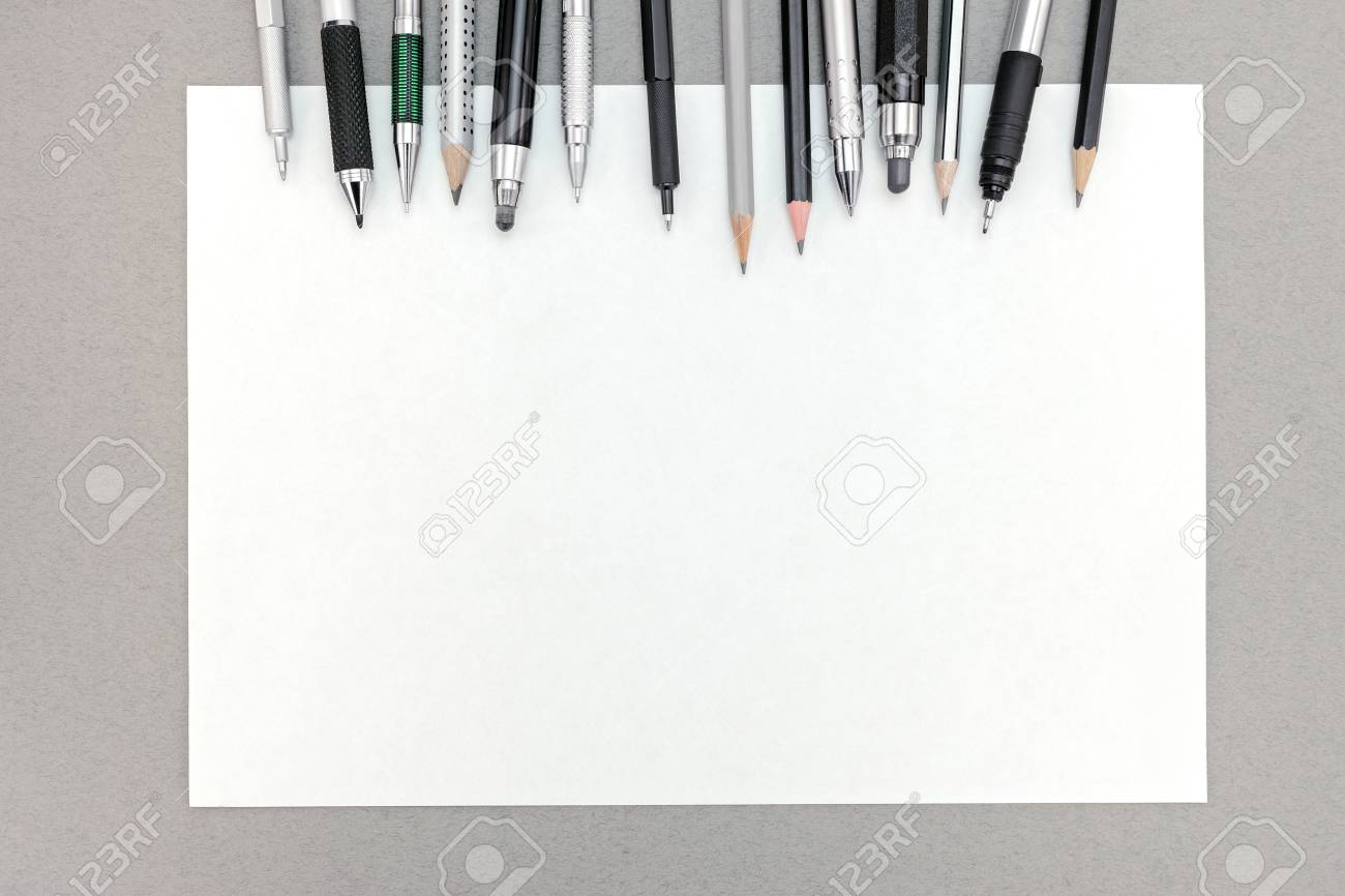 office drawing tools. Office Desk Table With Blank Sheet Of Paper And Various Drawing Tools Stock Photo - 59460623 .