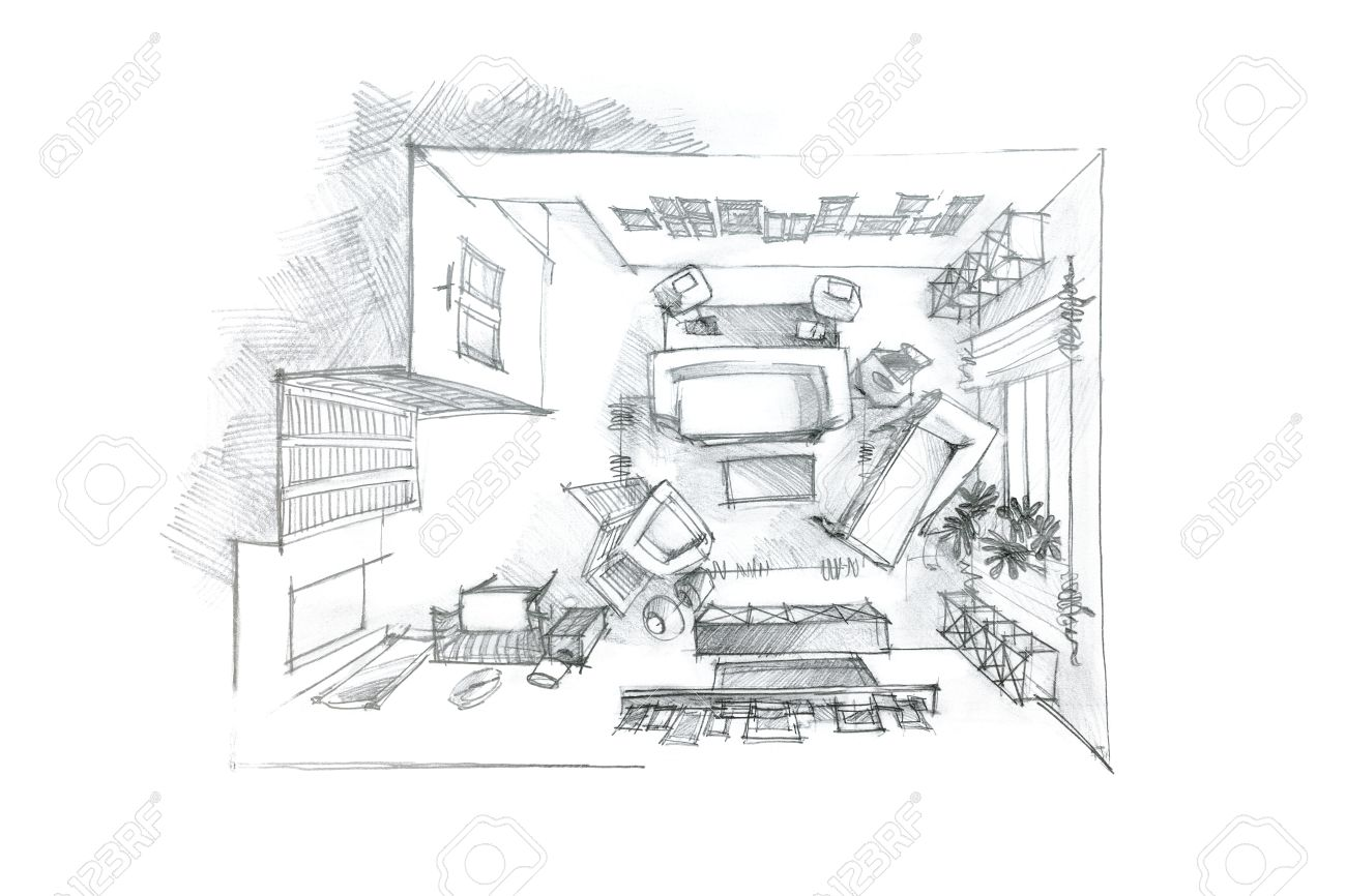 Stock photo top view graphical pencil drawing of living room in black and white