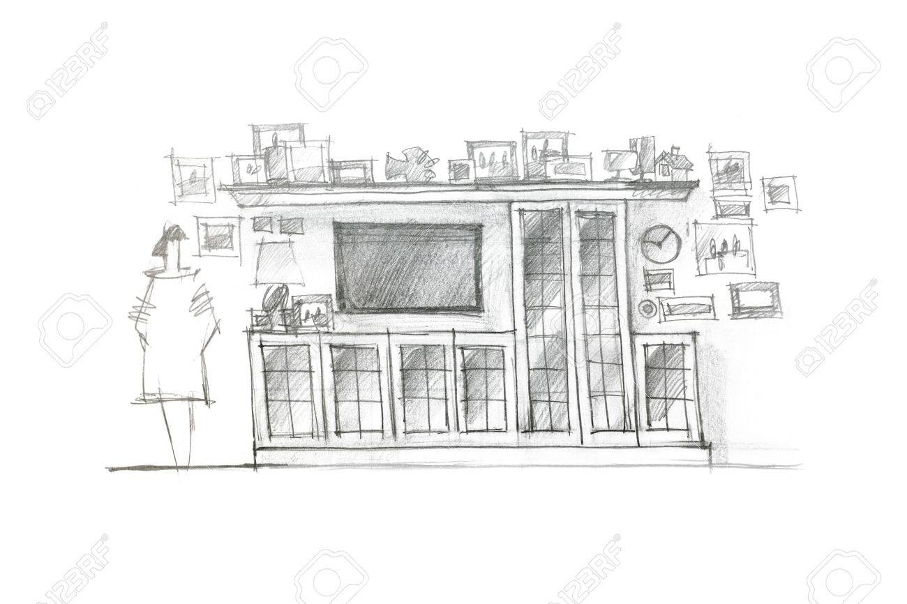 Pencil sketch variant of piece of furniture room for children stock photo 60141562