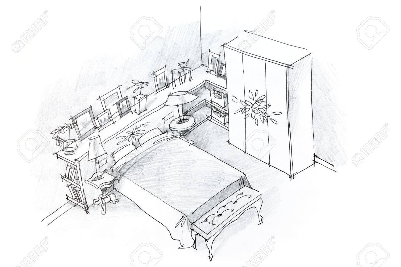 Dessin au crayon à main levée d\'intérieur moderne de chambre, en noir et  blanc