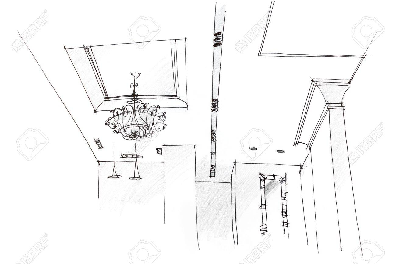 Architectural Hand Drawing Of Ceiling Light Design At Home Stock Photo