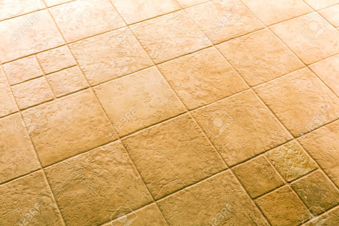 Brown Ceramic Floor Tiles Closeup Texture Background Stock Photo