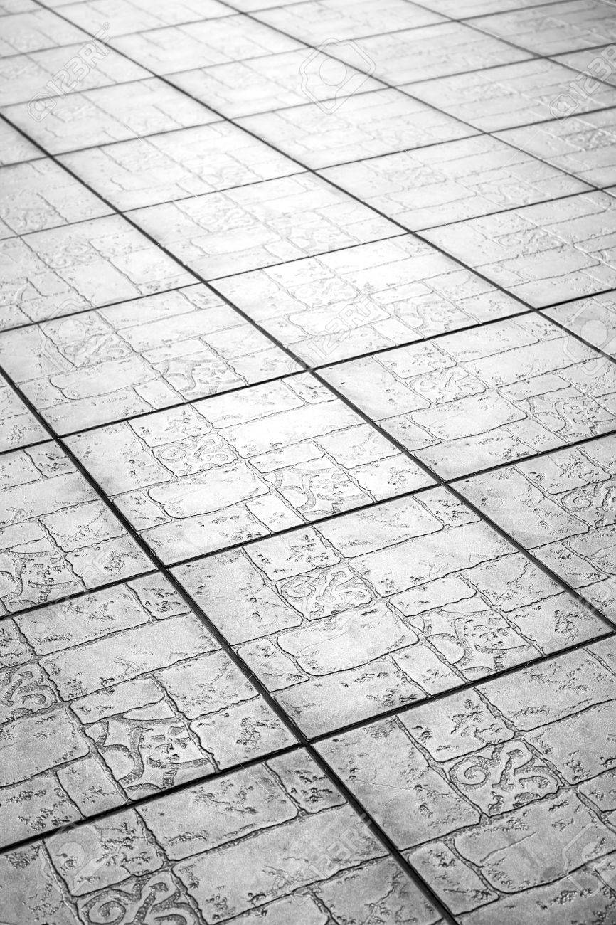 Grey Modern Ceramic Floor Tiles Background Texture Closeup Stock Photo