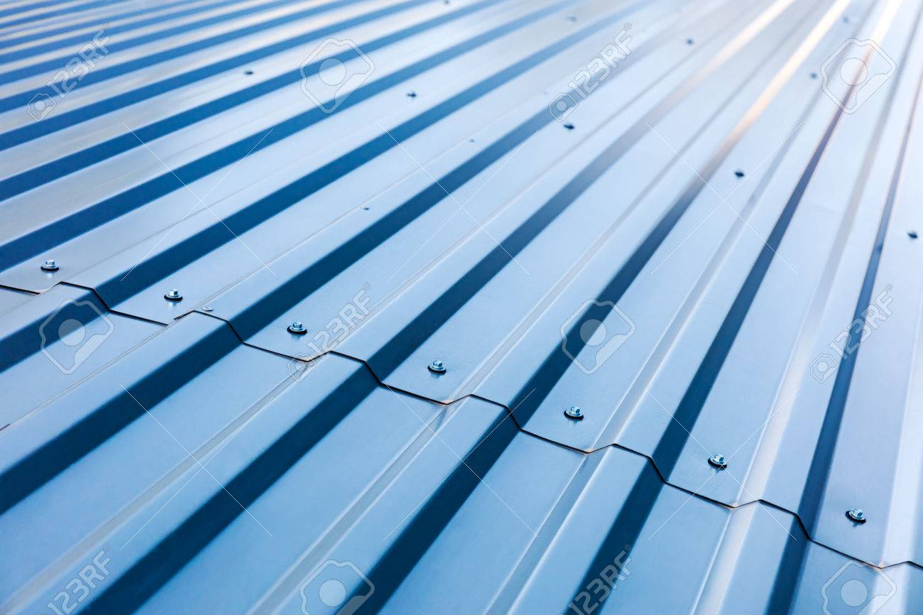 Blue Corrugated Metal Roof With Rivets, Industrial Background Stock Photo    62787675