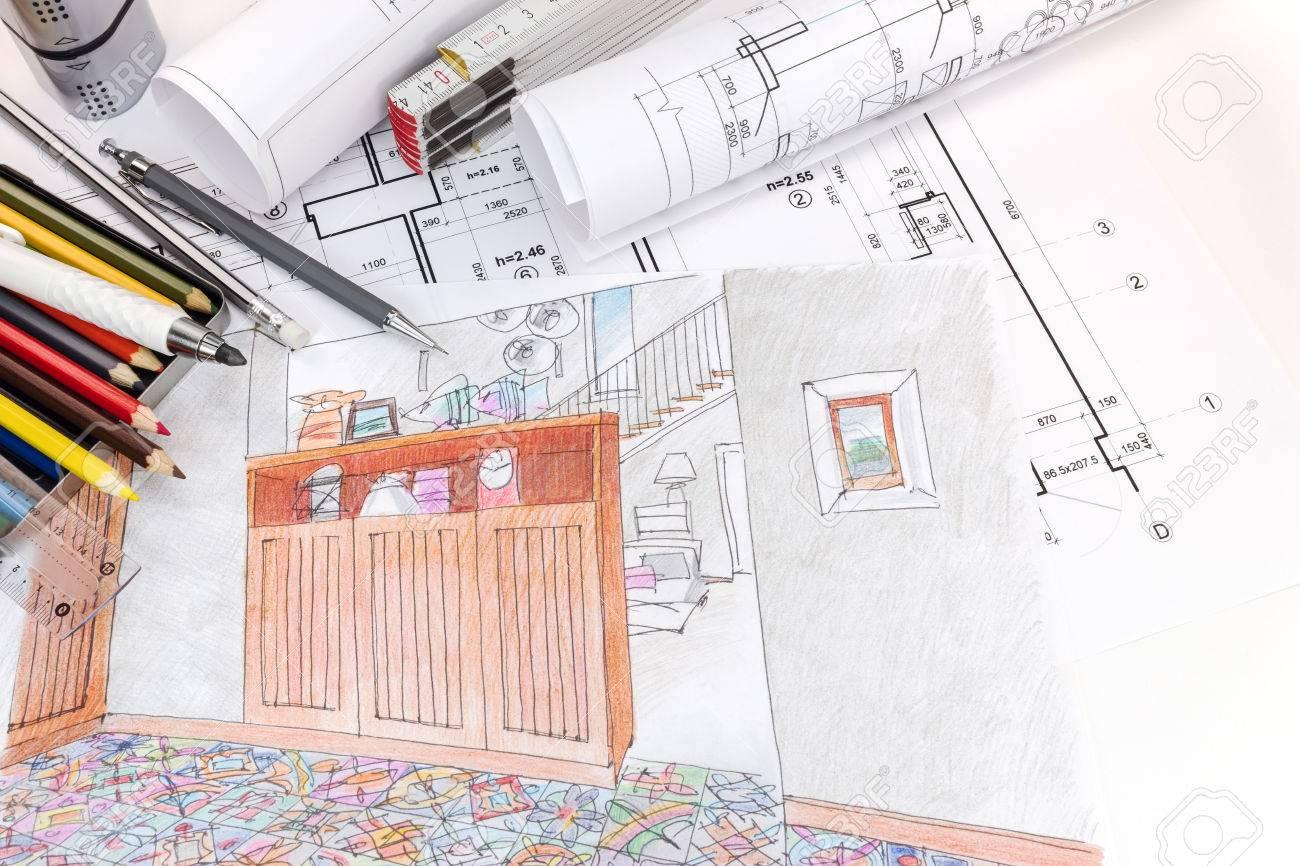 Hand Gezeichnete Skizzen Und Blaupausen Für Moderne Zimmer Interieur ...