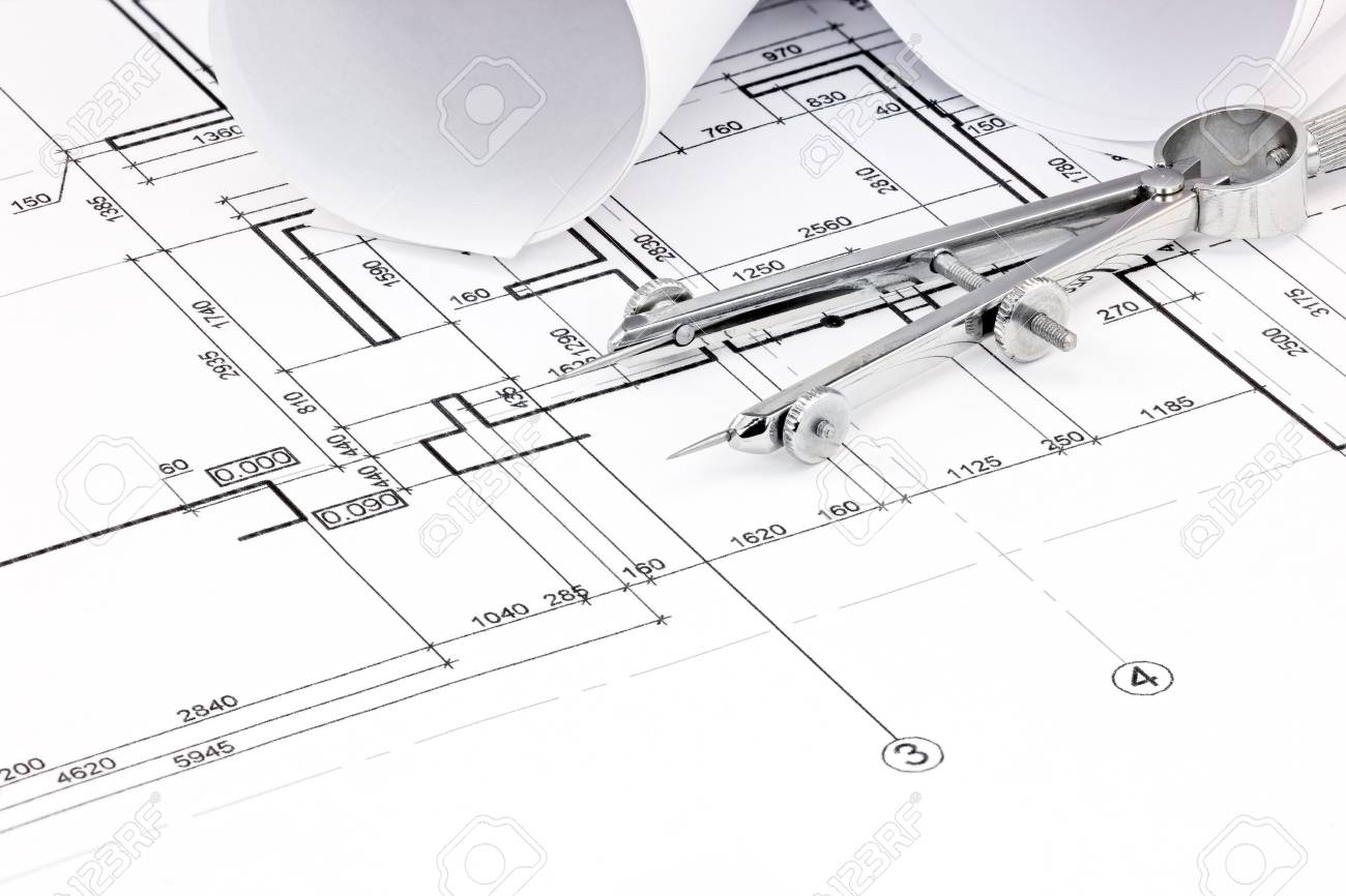 Architectural blueprint floor plans with rolls and drawing compass architectural blueprint floor plans with rolls and drawing compass stock photo 79078372 malvernweather Images