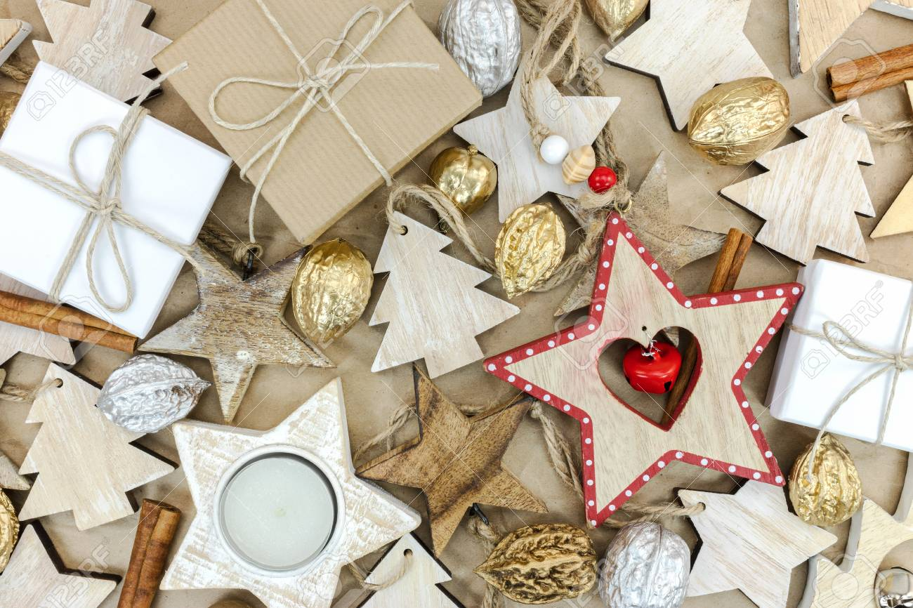 Rustic Wooden Christmas Tree Decorations Gift Boxes And Nuts Stock Photo Picture And Royalty Free Image Image 89435488