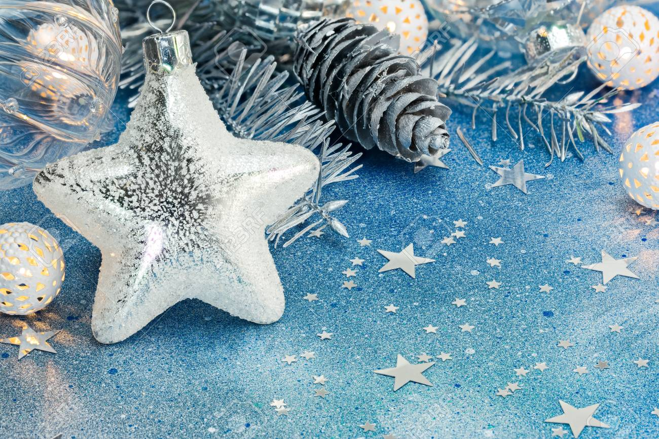 Silver Star Holiday Lights And Silver Cones For Christmas Tree Stock Photo Picture And Royalty Free Image Image 89462406
