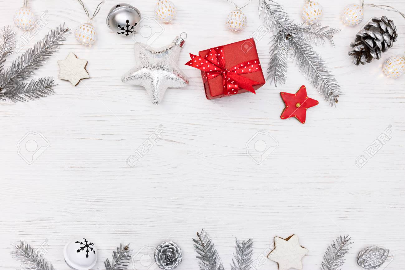 Christmas Tree Decorations And Gingerbread Cookies With Red Gift Stock Photo Picture And Royalty Free Image Image 90813045