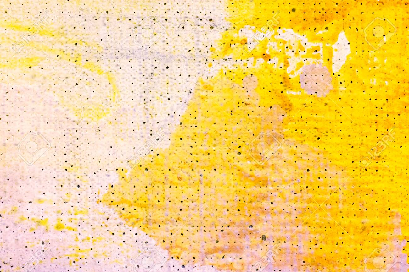 Art abstract canvas background oil painting in yellow colors