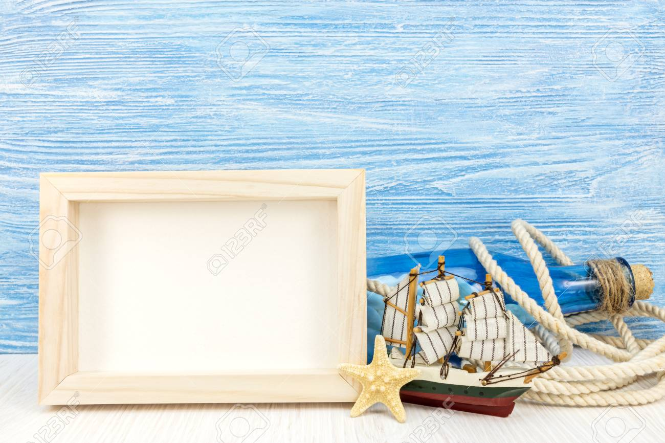 Summer Travel Background With Photo Frame Blue Glass Bottle