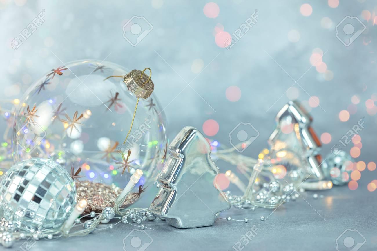Frozen Christmas Decorations.Christmas Holidays Decorations Frozen Blue Background With Christmas