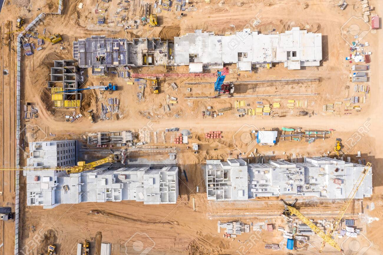 aerial top view of building site. construction of new apartment..