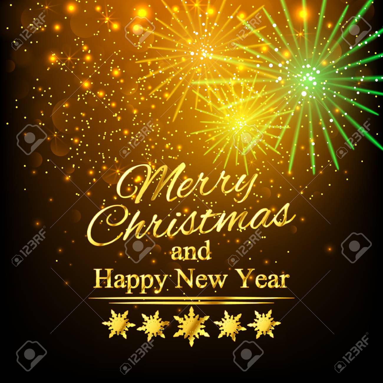 Merry Christmas And Happy New Year Greeting Card Golden Background