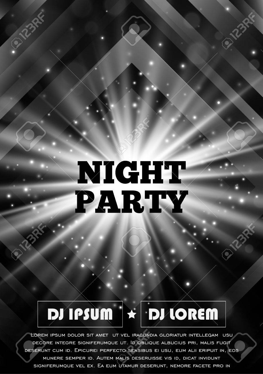 Black And White Flyer Template   Black And White Party Club Flyer Vector Poster Template Eps10