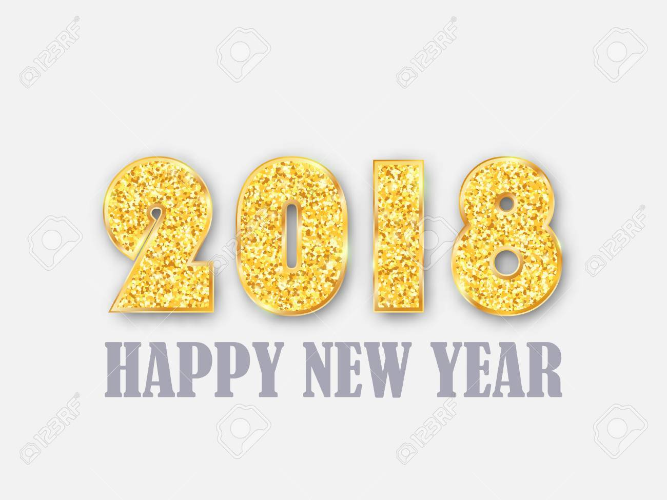 2018 happy new year banner gold glitter numbers vector background eps10 stock vector