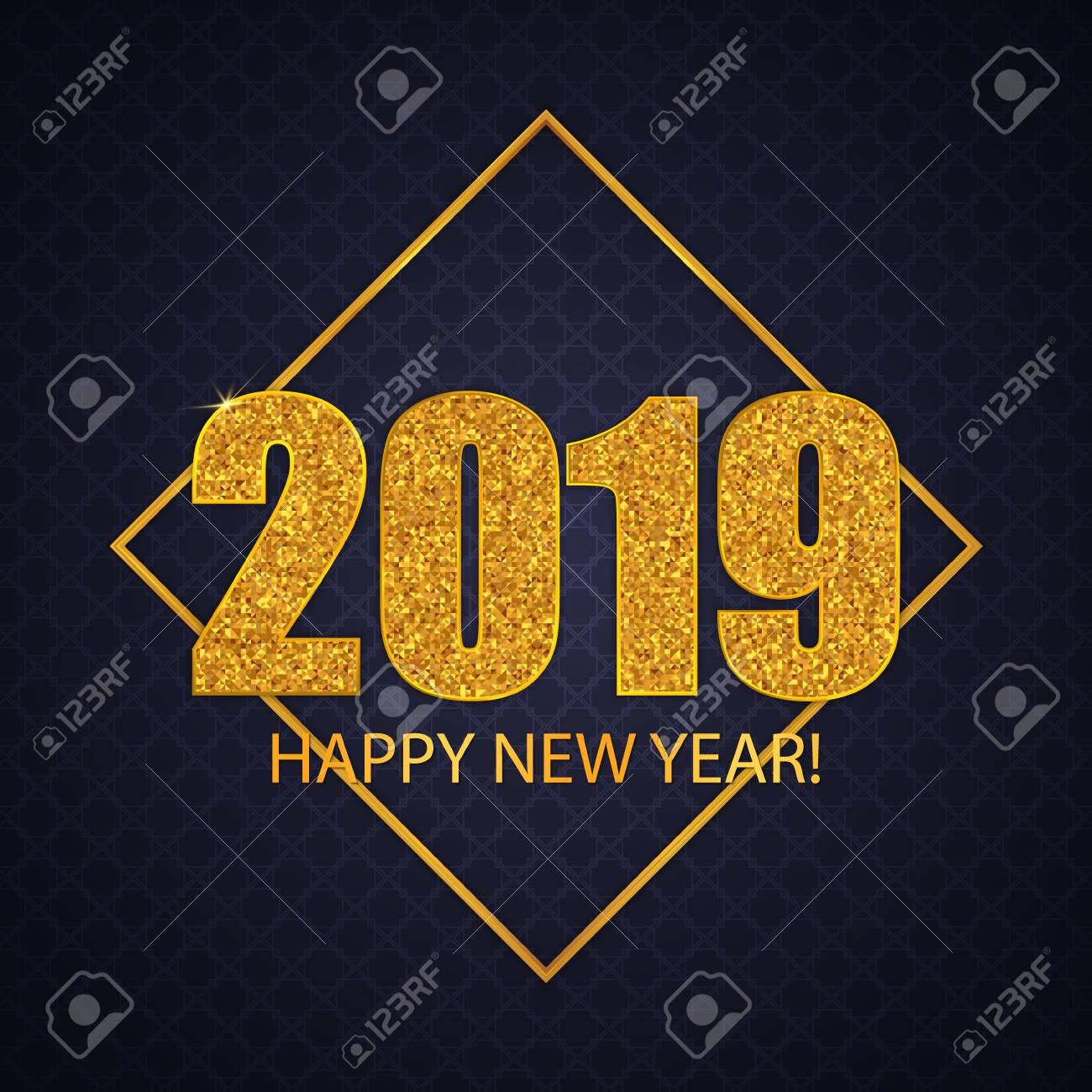 2019 Happy New Year. Greeting Card Design. Gold Glitter Numbers ...