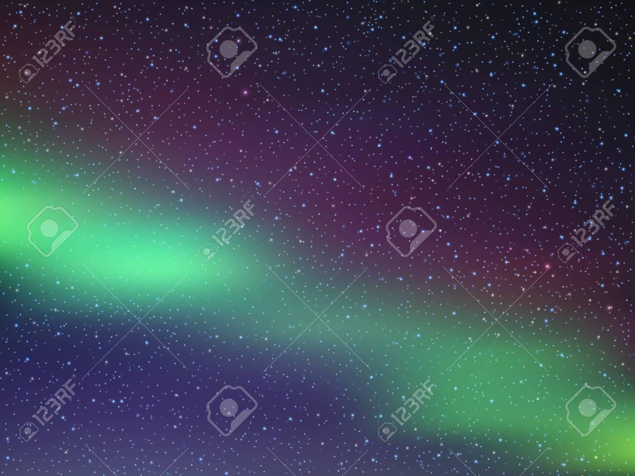 Night sky with stars. Northern lights. Vector illustration EPS10 - 135349144
