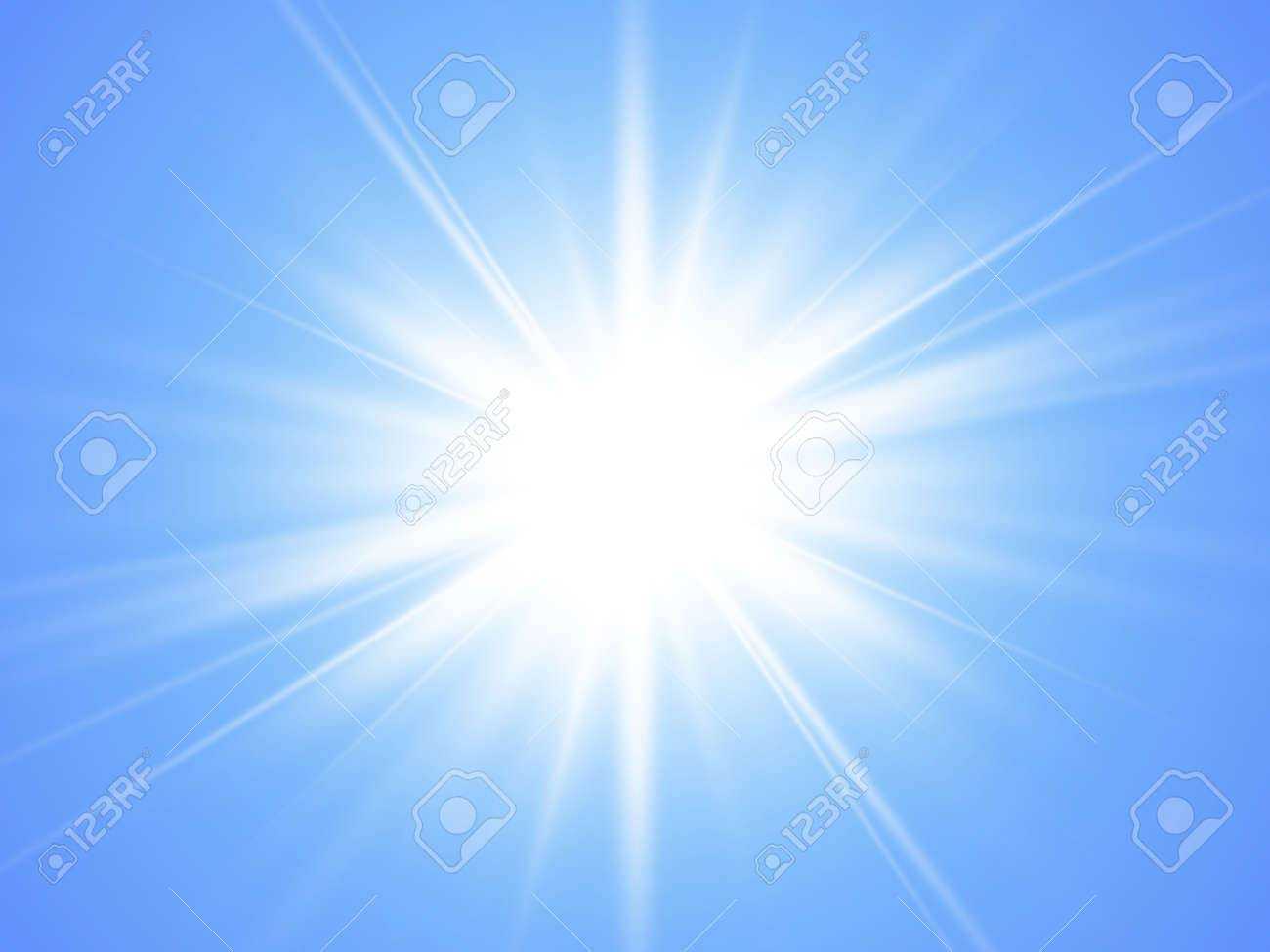 Sun with rayson on blue background. Glow light effect. Summer time. Vector illustration. EPS10 - 157200243