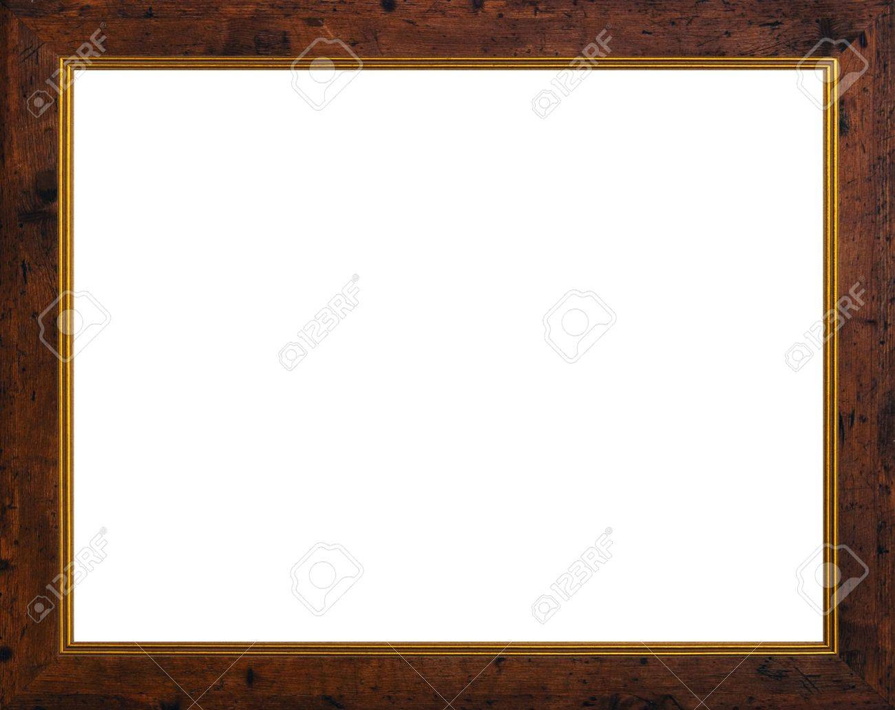 stock photo old style wooden photo frame with two little golden frames isolate on white