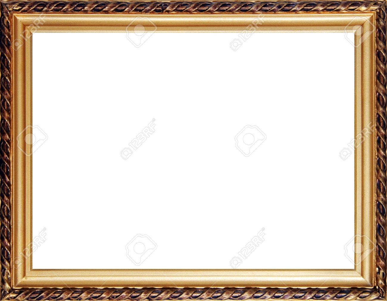 Old Russian Style Wooden Photo Frame With Stucco Moulding Isolated ...