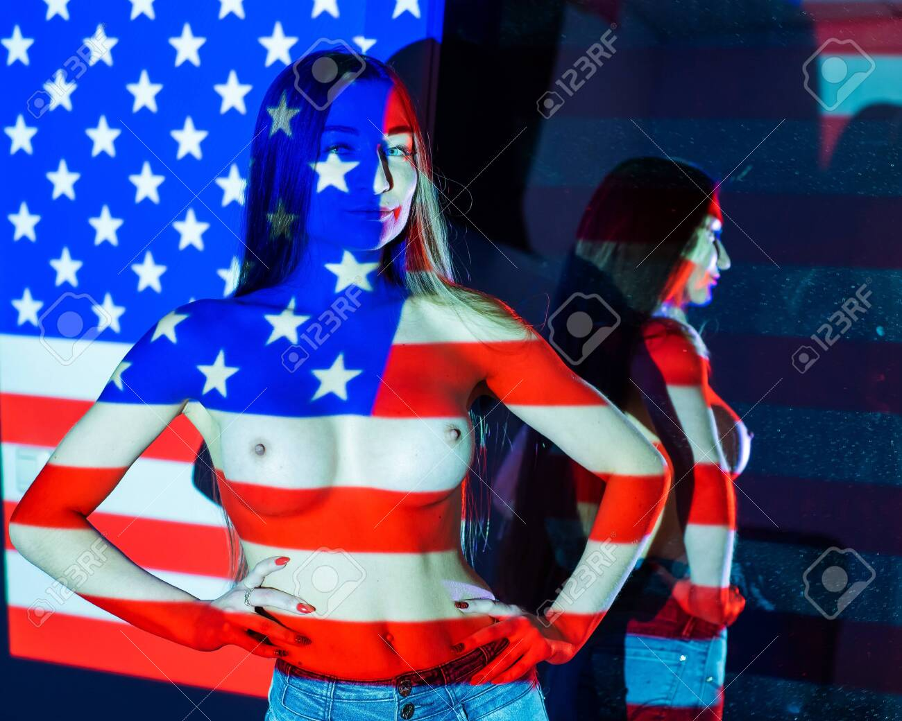 Drawing Of The American Flag On A Naked Female Body Body Art Stock Photo Picture And Royalty Free Image Image 131543747