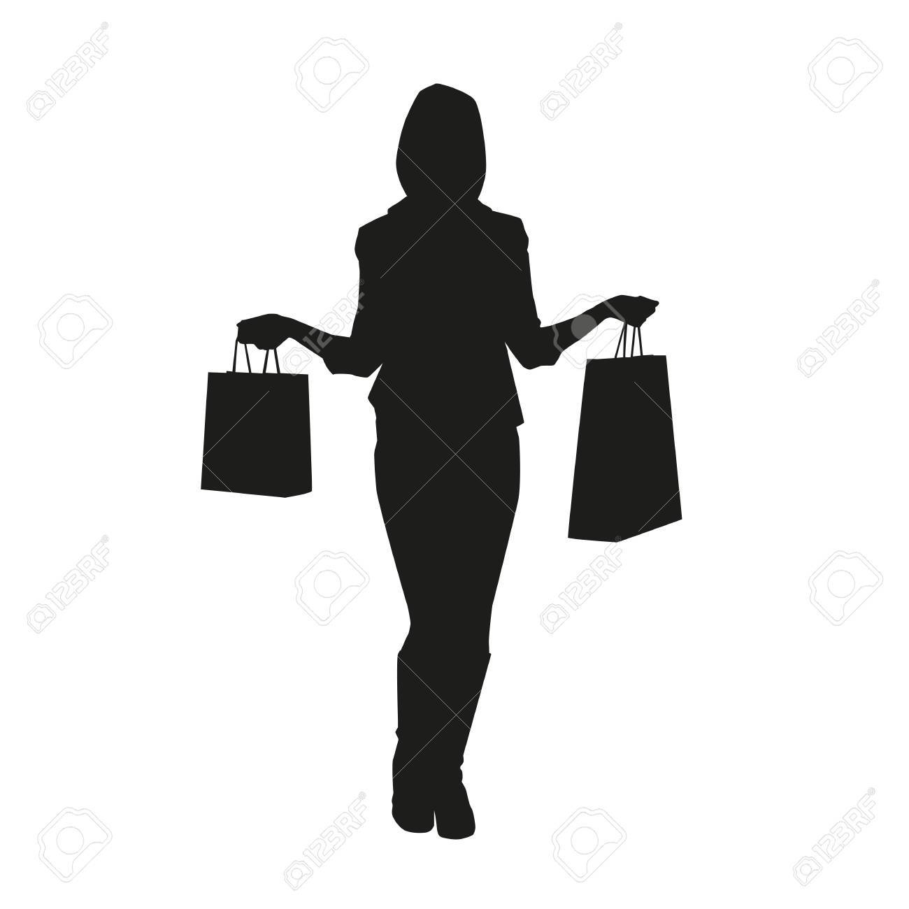 f7d735f41f7b Women With Shopping Bags. Vector Silhouette Royalty Free Cliparts ...