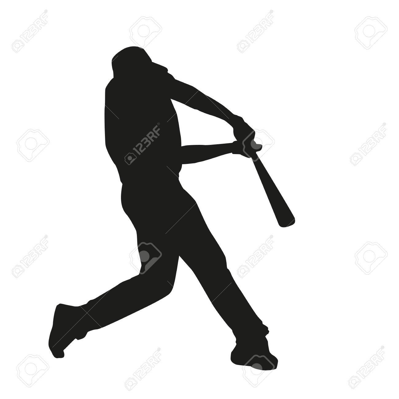 baseball batter hitting ball vector silhouette royalty free rh 123rf com Baseball Player Batter Clip Art Baseball Player Vector