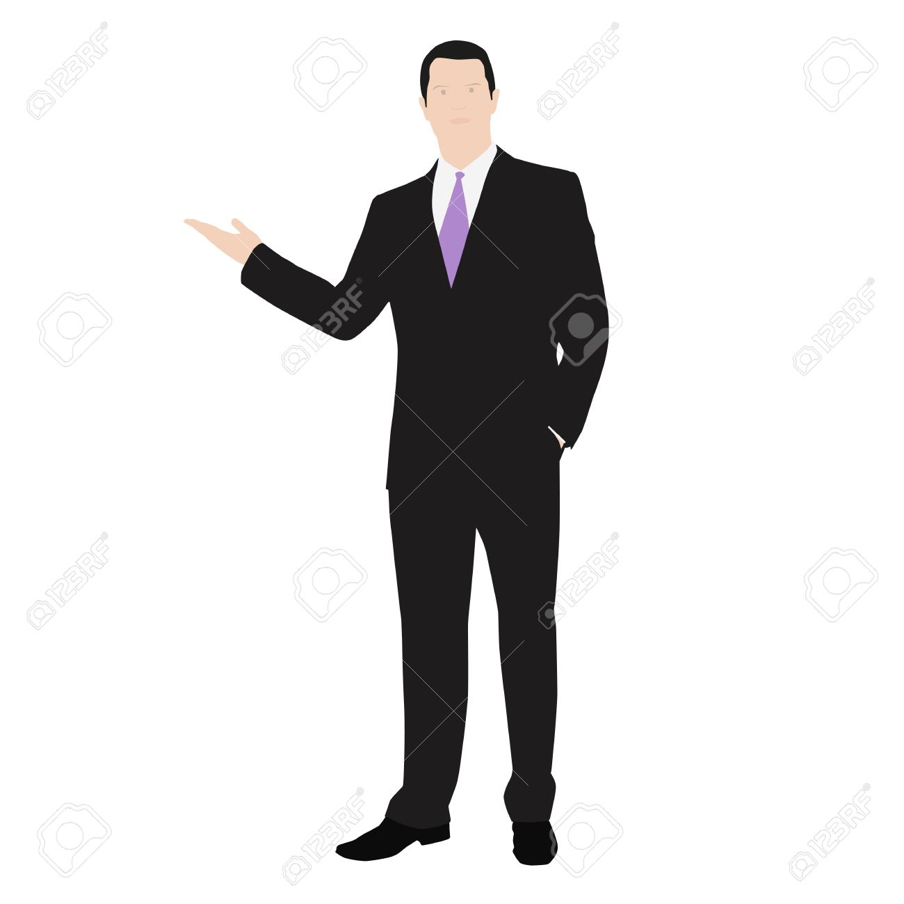 Vector drawing of a successful man dressed in a suit. Presentation or lecture. Show, featuring - 35771032