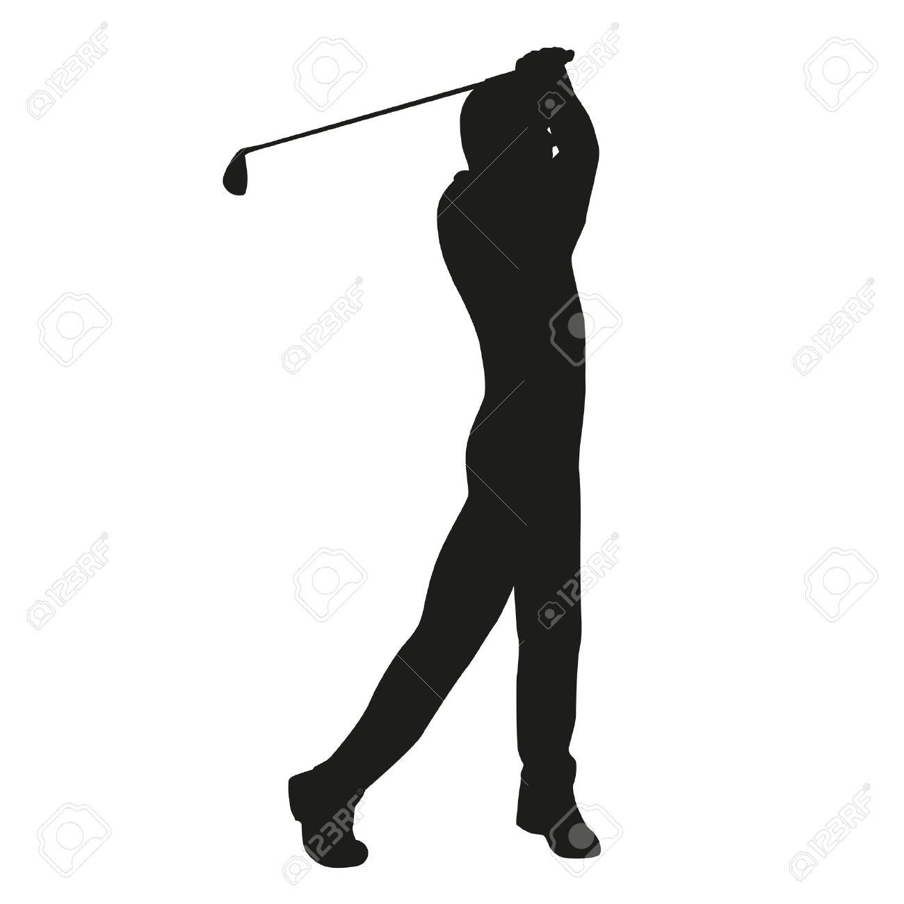 golf swing vector golfer silhouette stock vector 37531515