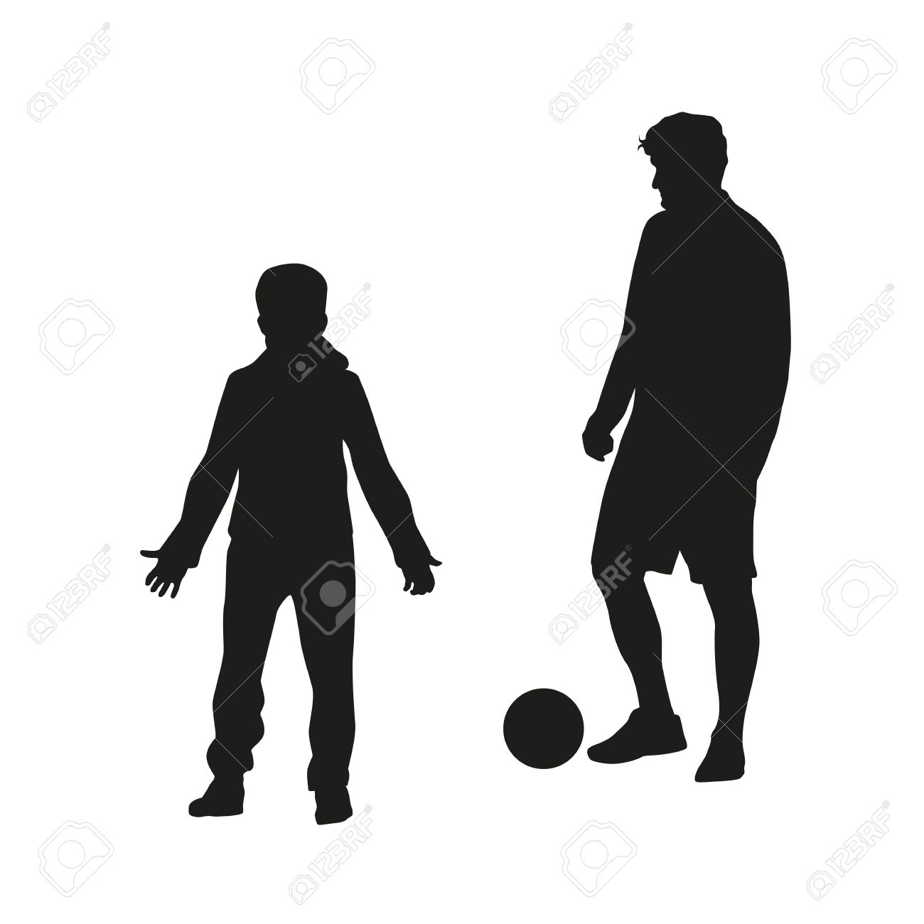father and son playing football vector silhouette stock vector 37970455