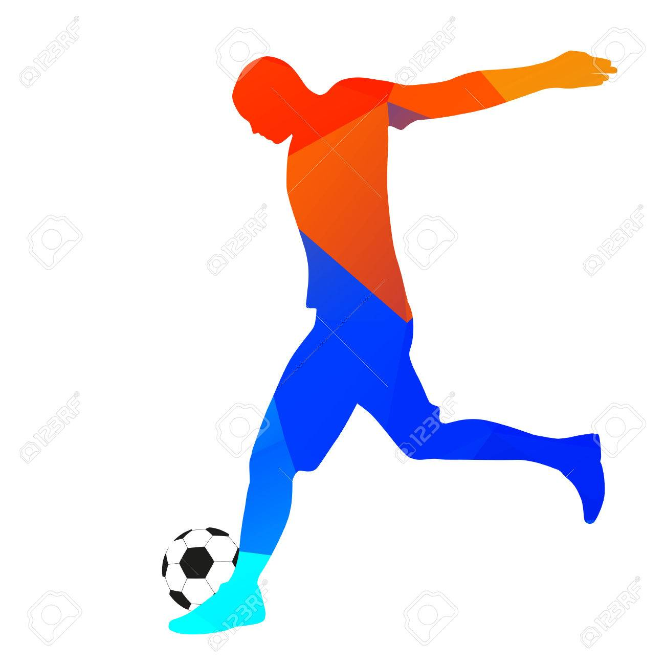 Geometric drawing footballer kicking a ball stock vector 43147796