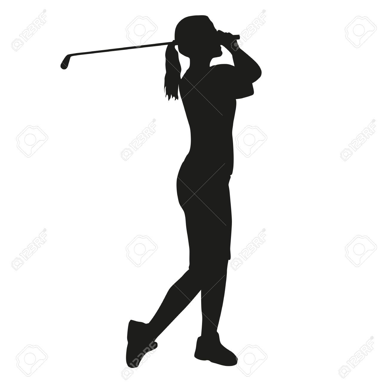 woman golfer silhouette stock vector 44630932