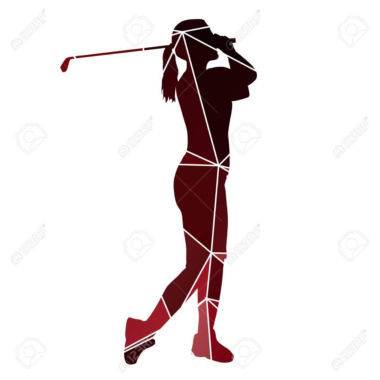 Golf Woman Red Geometric Lady Golfer Silhouette Royalty Free