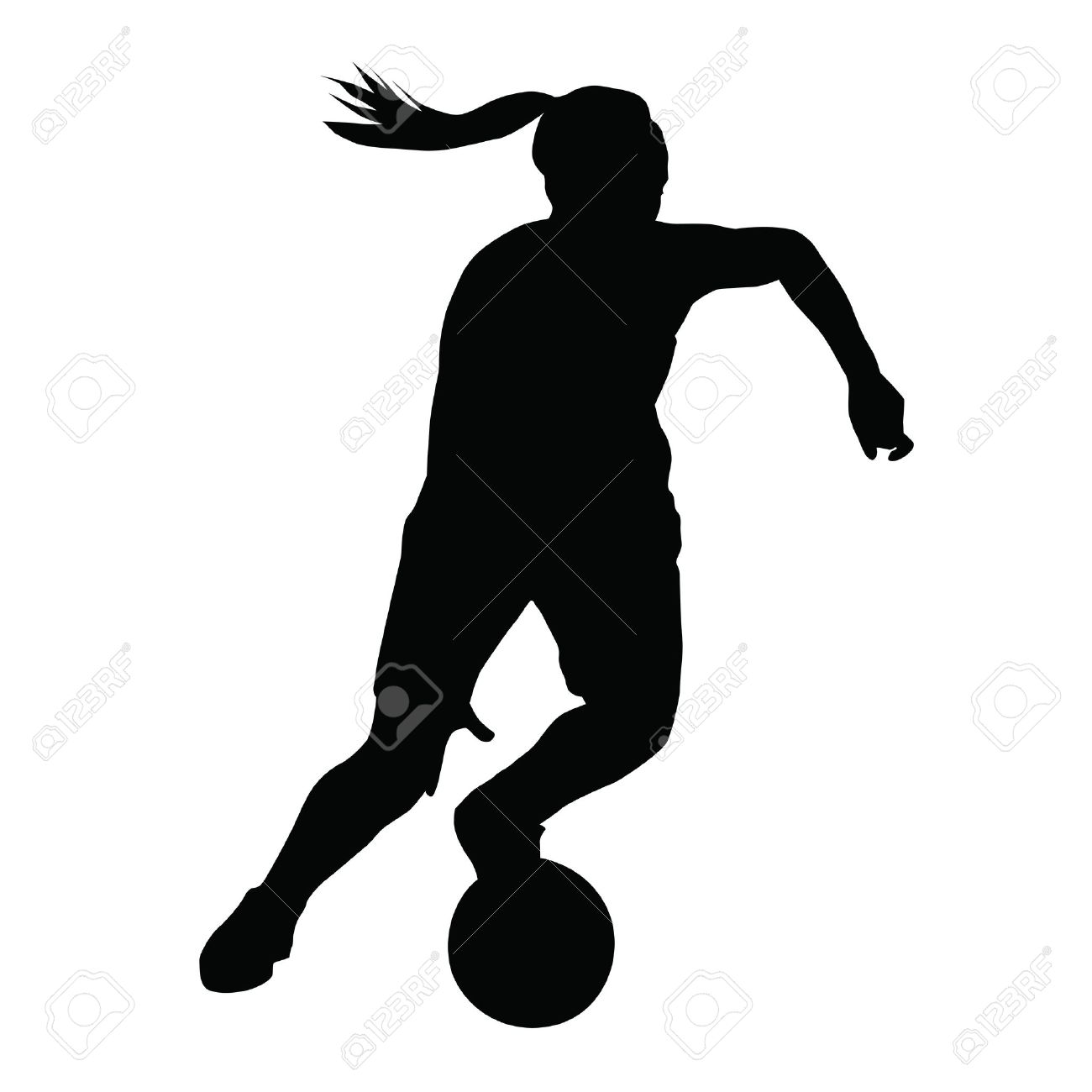 basketball player vector silhouette woman girl running with ball stock vector 53355379
