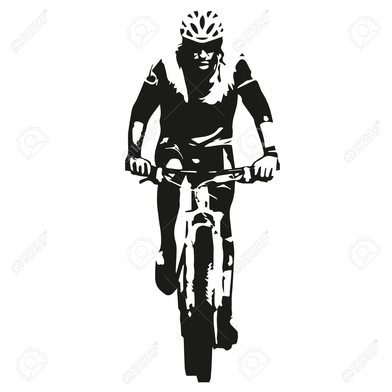 Mountain biker, abstract vector bicycle rider silhouette - 55397355