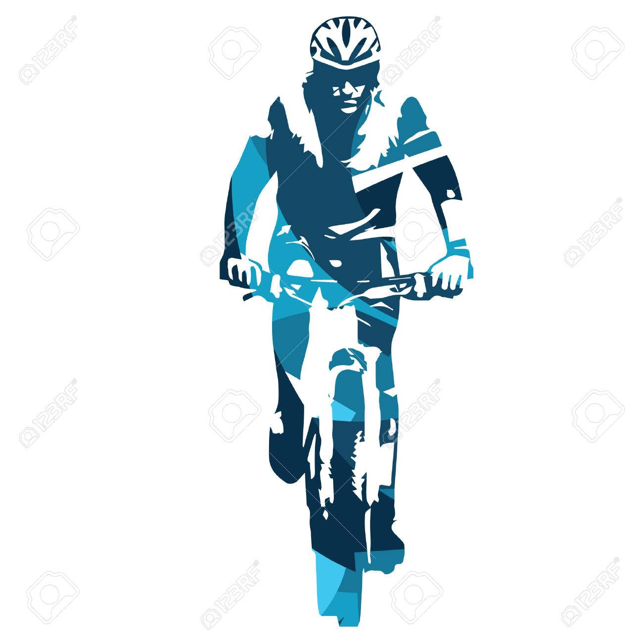 Mountain biker front view. Abstract blue vector illustration - 55399722