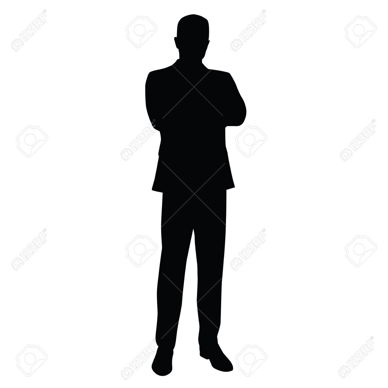 Business man in a business suit stands with his arms crossed, front view. teacher, lawyer, civil servant, businessman, entrepreneur, boss, manager. Isolated vector silhouette. - 55407900