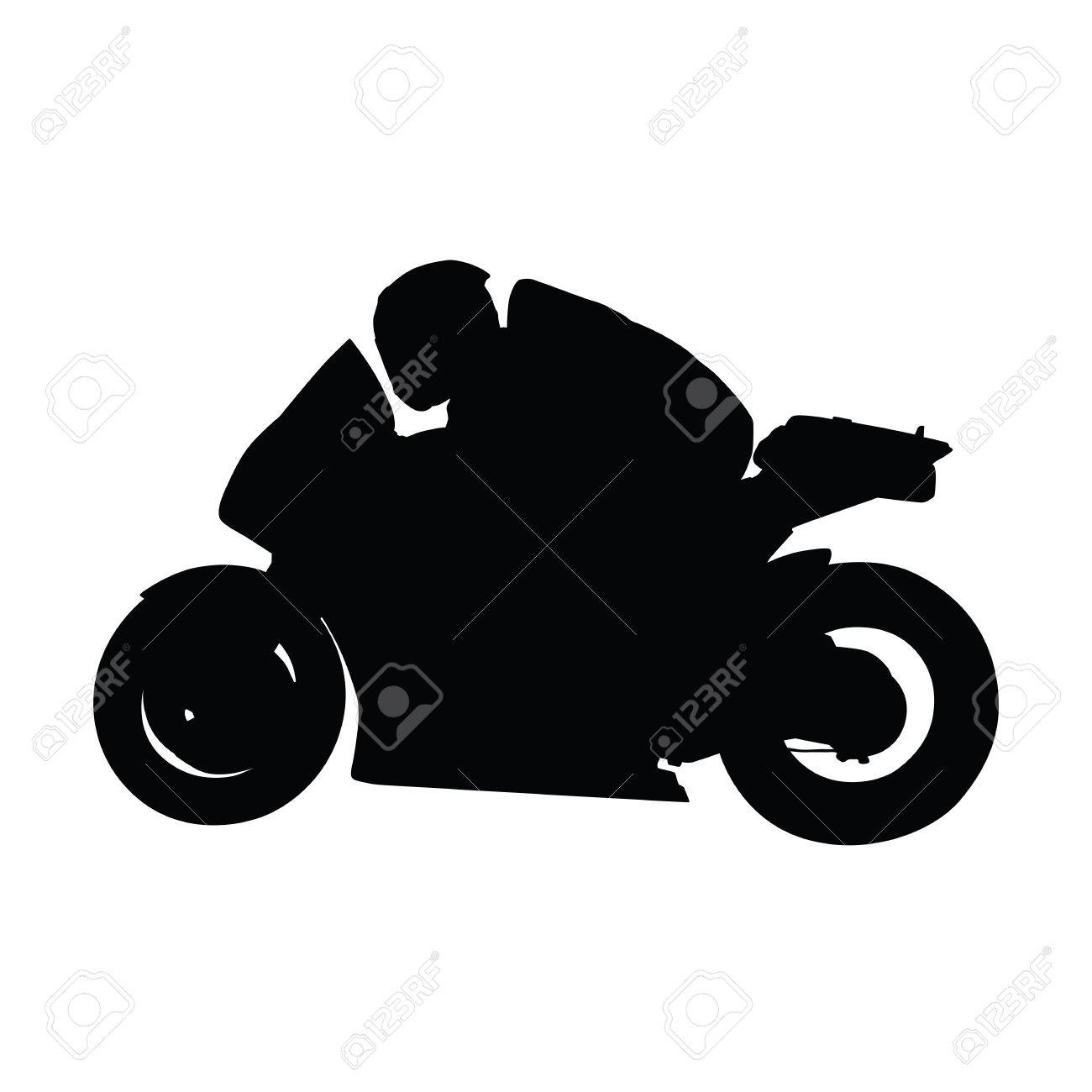 Motorcycle Vector Silhouette Isolated Road Motorbike Side View