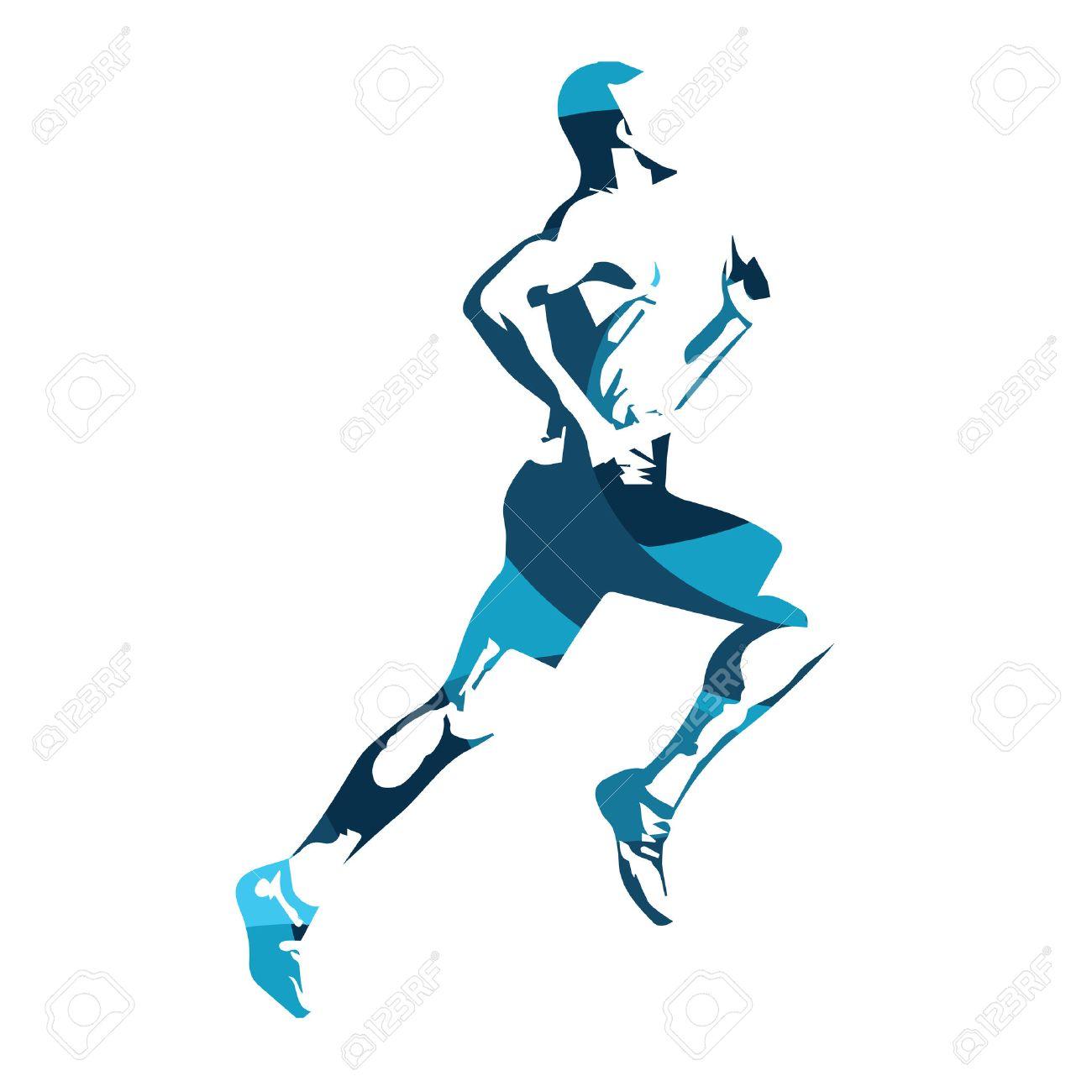 Abstract blue vector runner. Running man, vector isolated illustration. Sport, athlete, run, decathlon - 55407937