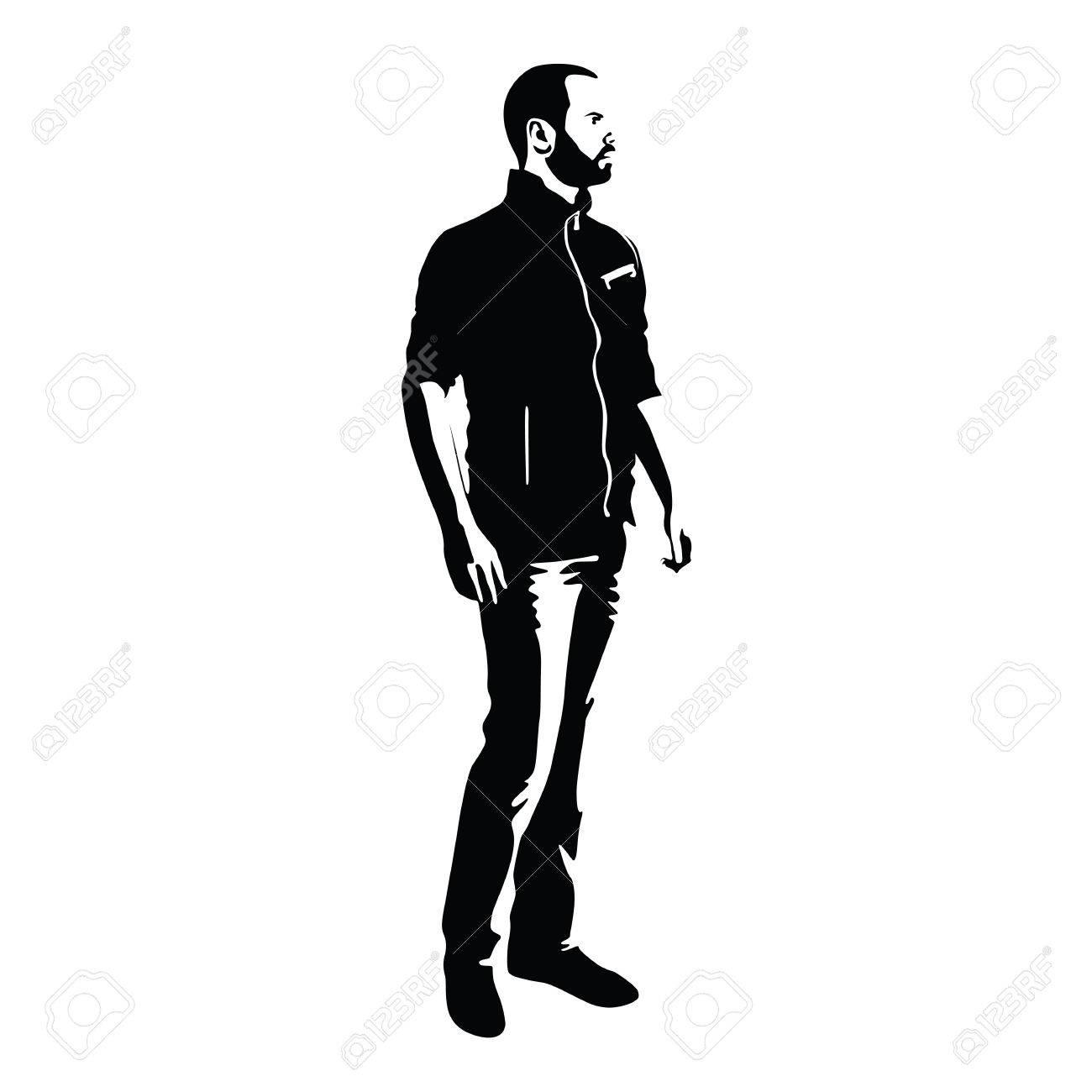 Debout Homme Regarde Autour De Lui Illustration De Personnage De